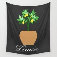 lemon Wall Tapestries featuring Lemon by Little Lost Garden