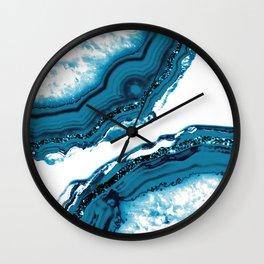 Blue Agate Glitter Glam #1 #gem #decor #art #society6 Wall Clock