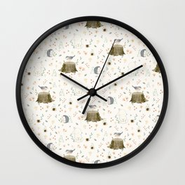 Animals in forest Wall Clock