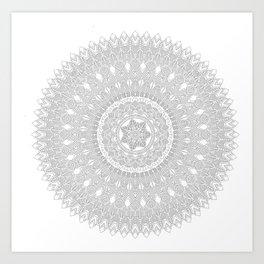 Black and White Feather Mandala Boho Hippie Art Print