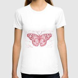 Linocut Red Junonia coenia buckeye butterfly T-shirt