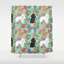 Toy Poodle dog breed pet portraits hawaiian floral flowers dog pattern custom dog lover art Shower Curtain
