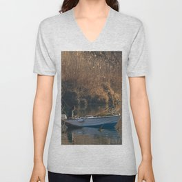 Fisherman on a boat by the river in the early morning Unisex V-Neck