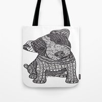 jack russell Tote Bags featuring Jack Russell by DiAnne Ferrer