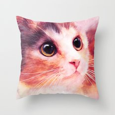 Innocent eyes (watercolor cat painting, art, aquarell) Throw Pillow