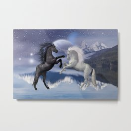 Horses and Moon Metal Print