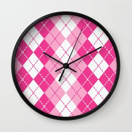 Argyle Design in Pink and White Wall Clock
