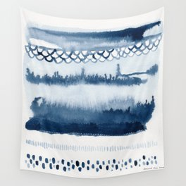 Beach Series Indigo Waves Watercolor Painting Wall Tapestry