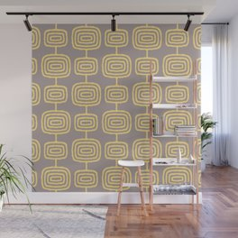 Mid Century Modern Atomic Rings Pattern Yellow and Gray 3 Wall Mural