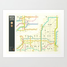 NEW YORK STATE HIGHWAY MAP Art Print