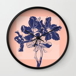 Desert roses blue branch Wall Clock