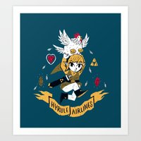 hyrule Art Prints featuring hyrule airlines by Louis Roskosch