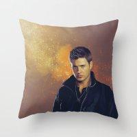dean winchester Throw Pillows featuring Dean Winchester - Supernatural by KanaHyde