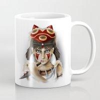 princess mononoke Mugs featuring Mononoke by Cristina Valero