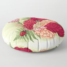 Full bloom | Ladybug carnation Floor Pillow
