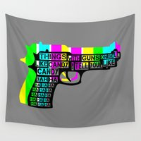guns Wall Tapestries featuring Guns and Candy by mailboxdisco