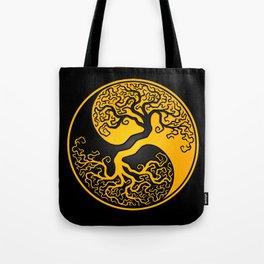 Yellow and Black Tree of Life Yin Yang Tote Bag