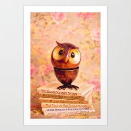Bookish owl Art Print