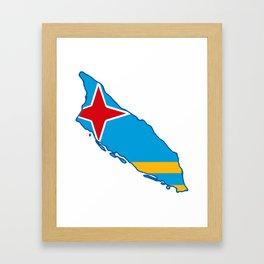 Aruba Map with Aruban Flag Framed Art Print