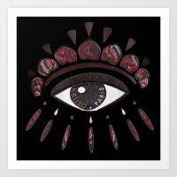 kenzo Art Prints featuring KENZO eye red by cvrcak