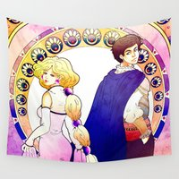 art nouveau Wall Tapestries featuring Art Nouveau by Golden Crown