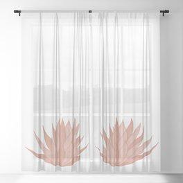 Pink Succulent Sheer Curtain