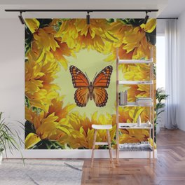 Monarch Butterfly Creany Yellow Sunflower Circle Wall Mural