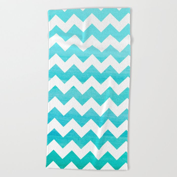 Aqua Blue chevron ZigZag Herringbone - watercolor on white pattern #Society6 Beach Towel