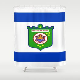flag of tel aviv Shower Curtain