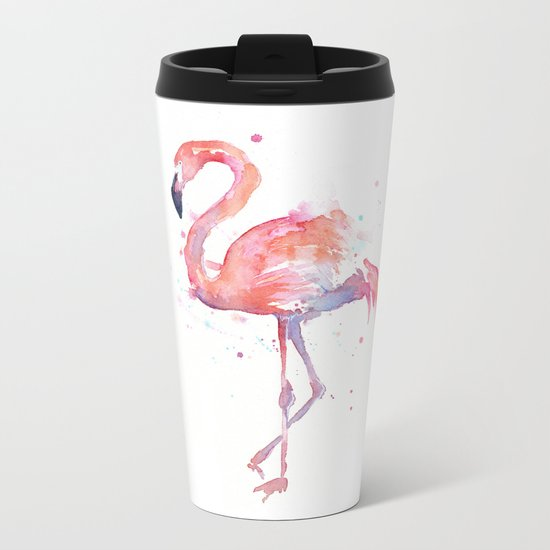 Flamingo Watercolor Metal Travel Mug