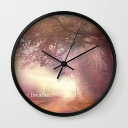 """Inspirational Nature Trees """"Just Breathe"""" Ethereal Landscape Wall Clock"""