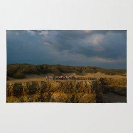 la mine france aerial drone shot cliff people sunset clouds goldenhour Rug