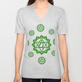 "GREEN SANSKRIT CHAKRAS  PSYCHIC WHEEL "" LOVE"" Unisex V-Neck"