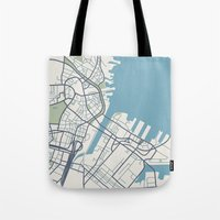 boston map Tote Bags featuring Boston Map by Sophie Calhoun