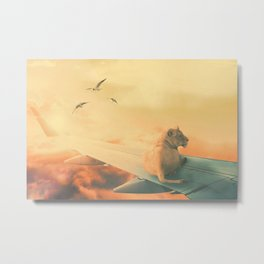 Lion Airlines Flight by GEN Z Metal Print