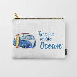 Take me to the Ocean // Summer quote with van and surfboard Carry-All Pouch