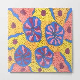 Colorful Retro Abstract Funk Metal Print
