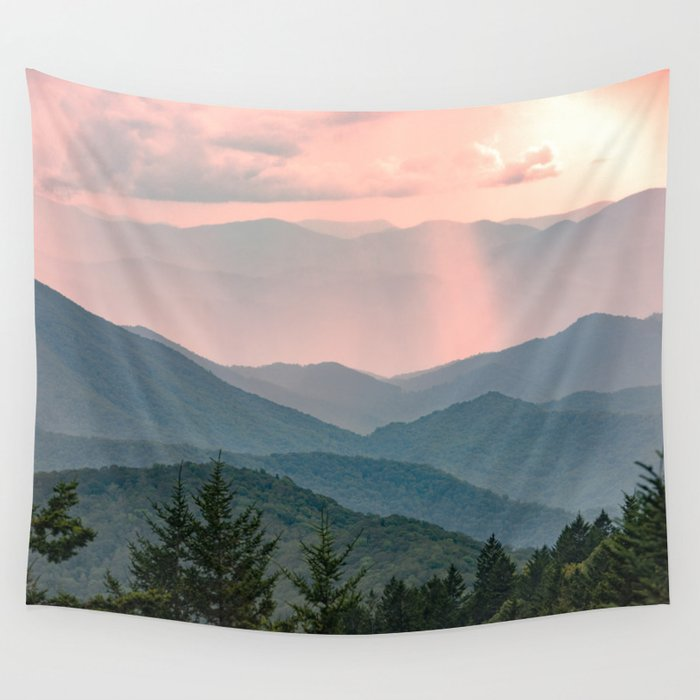 Smoky Mountain Pastel Sunset Wandbehang