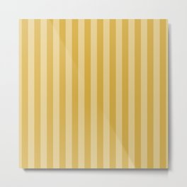 Large Two Tone Spicy Mustard Yellow Cabana Tent Stripe Metal Print