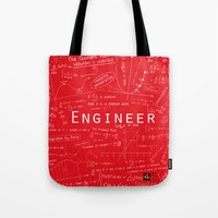 engineer Tote Bags featuring RED - ENGINEER by Be Raza