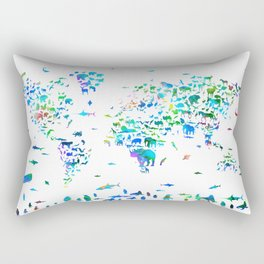 world map animals collage Rectangular Pillow