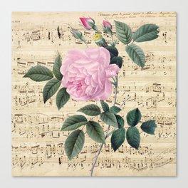 Pink Rose Music Canvas Print