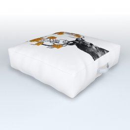The Stag and Roses   Deer and Flowers   Orange Roses   Outdoor Floor Cushion