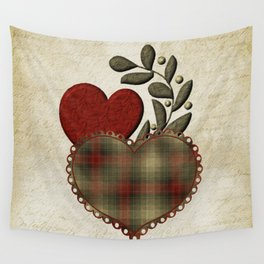 Red & Green Plaid Heart Love Letter Wall Tapestry
