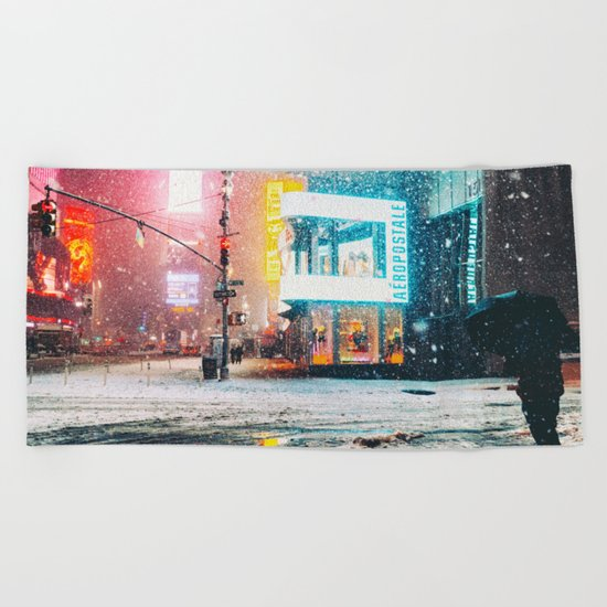 New York City Snow in Times Square Beach Towel