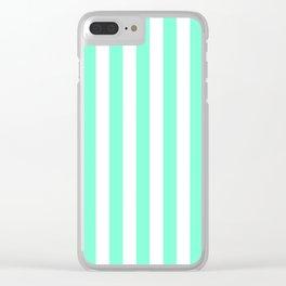 Pale Aquamarine and White Vertical Beach Hut Stripes Clear iPhone Case