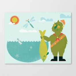 Harold Goes Fishing Canvas Print