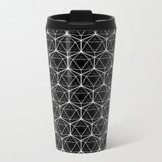 Icosahedron Pattern Black Metal Travel Mug