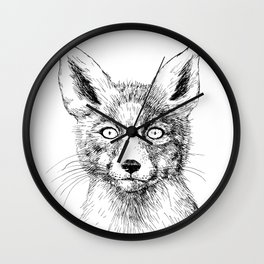 Fox portrait, ink drawing Wall Clock