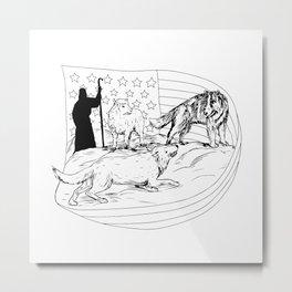 Sheepdog Defend Lamb from Wolf Drawing Metal Print